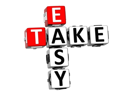 take it easy: 3D Crossword Take Easy on white background