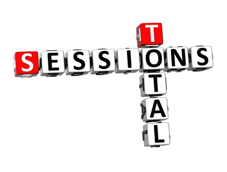sessions: 3D Crossword Total Sessions on white background