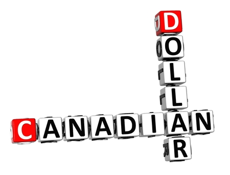 canadian dollar: 3D Crossword Canadian Dollar on white background
