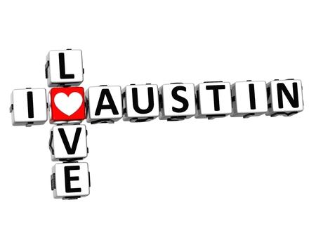 err: 3D Crossword I love Austin on white background