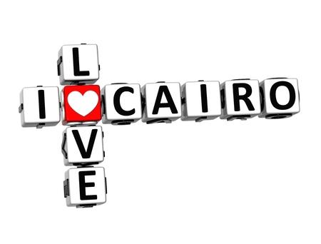 3D Crossword I love Cairo on white background photo