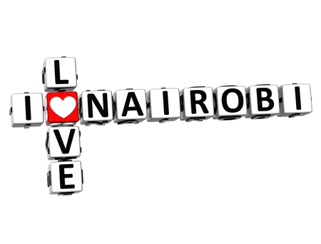 nairobi: 3D Crossword I love Nairobi on white background