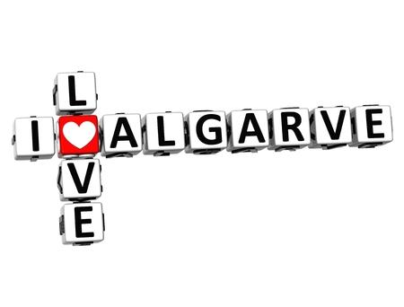barrel tile: 3D Crossword I love Algarve on white background