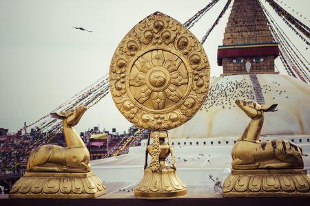 Boudhanath is a buddhist stupa in Kathmandu, Nepal. Stock Photo