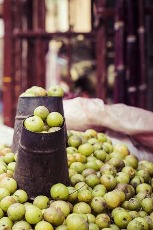 The street vendor sels his fruits and vegetables in Thamel in Kathmandu, Nepal. Stock fotó
