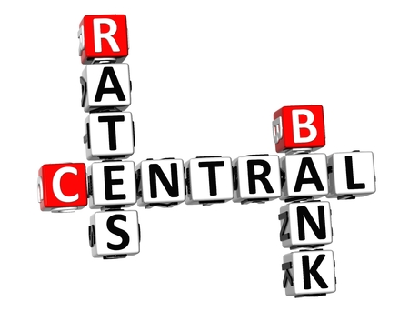 3D Crossword Central Bank Rates on white background photo