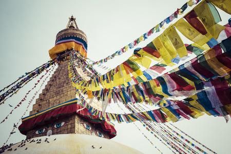 Boudhanath is a buddhist stupa in Kathmandu, Nepal. photo