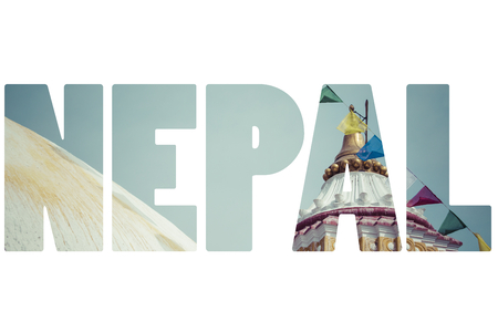 going places: Word NEPAL over national symbols.
