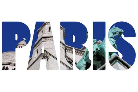 sacre: Word PARIS over Sacre Coeur Basilica