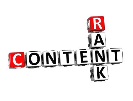 rank: 3D Crossword Content Rank over white . Stock Photo
