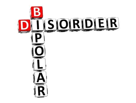 psychosocial: 3D Crossword Bipolar Disorder over white .