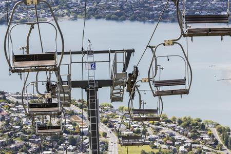 wakatipu: View of Queenstown and Lake Wakatipu Stock Photo