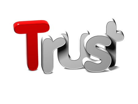3D Silver Word Trust on white background Stock Photo