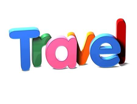 3D Colorful Word Travel on white background Stock Photo