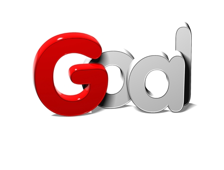 3D Silver Word Goal on white background