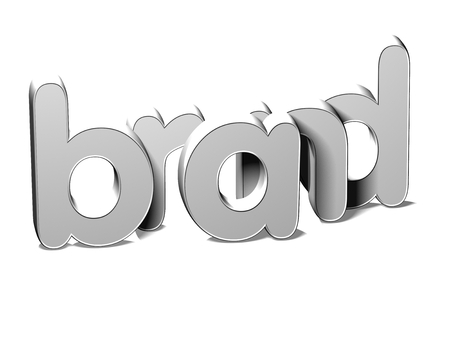 3D Silver Word Brand on white background Stock Photo