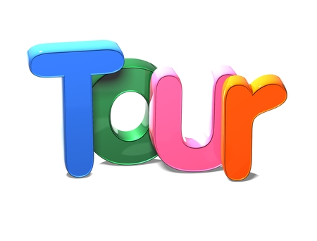 3D Colorful Word Tour on white background Stock Photo