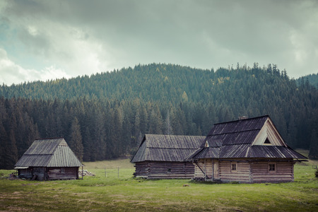 Wooden hut in Chocholowska valley, Tatra Mountains, Poland photo