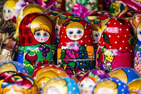 matriosca: Colorful Russian nesting dolls matreshka at the market. Matrioshka Nesting dolls are the most popular souvenirs from Russia.