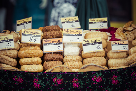 zakopane: Traditional polish smoked cheese oscypek on outdoor market in Zakopane