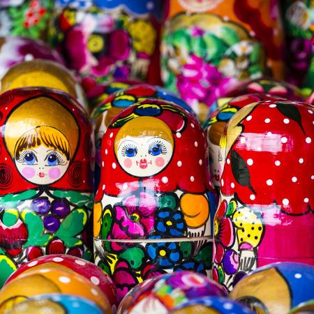 matreshka: Colorful Russian nesting dolls matreshka at the market. Matrioshka Nesting dolls are the most popular souvenirs from Russia.