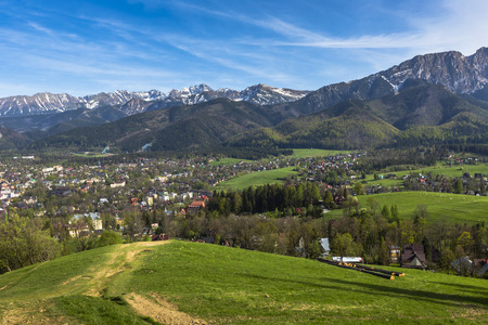 zakopane: City of Zakopane and Tatras seen from the top of Gubalowka, emphasize the beauty of the Polish Podhale