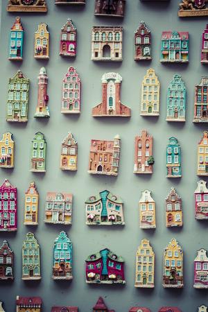 memorabilia: model houses magnets on display in Gdansk, Poland Stock Photo
