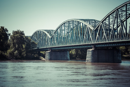 torun: Poland - Torun famous truss bridge over Vistula river. Transportation infrastructure.