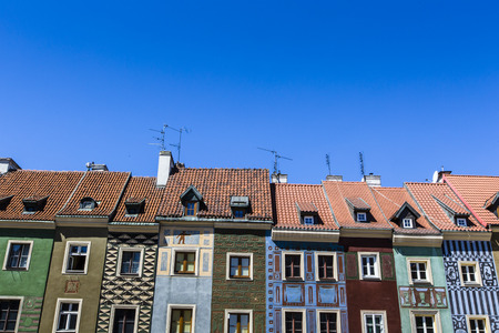tenement: Houses and Town Hall in Old Market Square, Poznan, Poland