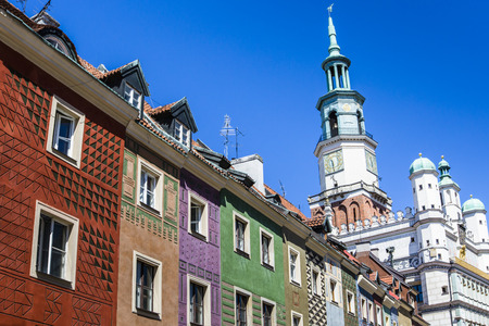 rynek: Houses and Town Hall in Old Market Square, Poznan, Poland