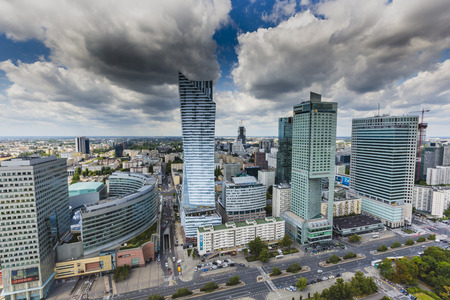 warsaw: View from the observation deck of the Palace of Culture and Science.Warsaw,Poland. Editorial
