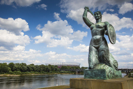 mermaid: The Warsaw Mermaid called Syrenka on the Vistula River bank in Warsaw, Poland