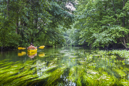 warmia: Kayaking on the Rospuda river, Poland Stock Photo