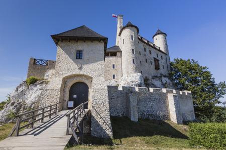 bobolice: Beautiful medieval castle at sunny day over blue sky, Bobolice, Poland