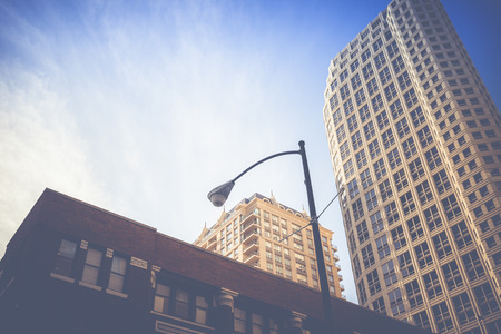 Chicago Bilder vintage chicago skyline luftaufnahme lizenzfreie fotos bilder und