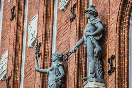blackhead: Sculptures on the facade of the House of Blackheads in Riga, Latvia.