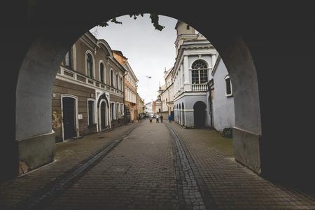 mother of jesus: Ausros gate (gate of dawn) with basilica of Madonna Ostrobramska in Vilnius, Lithuania