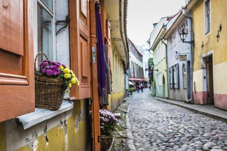 historic architecture: Old Street of Tallinn Estonia