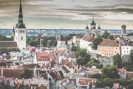 old city: Skyline of Tallinn, Estonia at the old city. Stock Photo