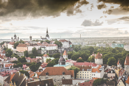 new ages: Skyline of Tallinn, Estonia at the old city. Stock Photo