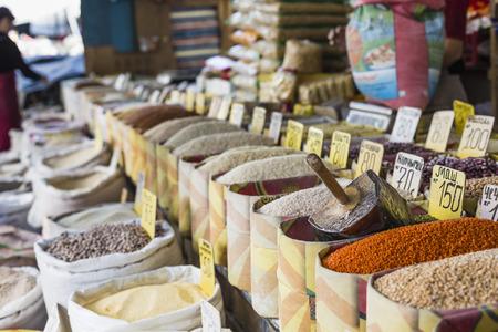 safran: Beautiful vivid oriental market with bags full of various spices in Osh bazaar in Bishkek, Kyrgyzstan.