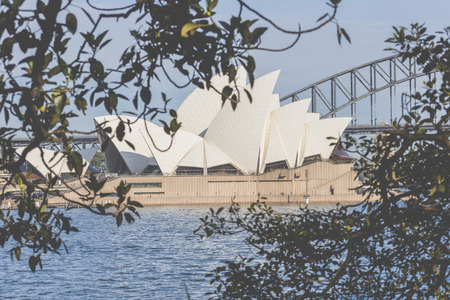 jorn: SYDNEY - OCTOBER 25: Sydney Opera House view on October 25, 2015 in Sydney, Australia. The Sydney Opera House is a famous arts center. It was designed by Danish architect Jorn Utzon, finally opening in 1973.