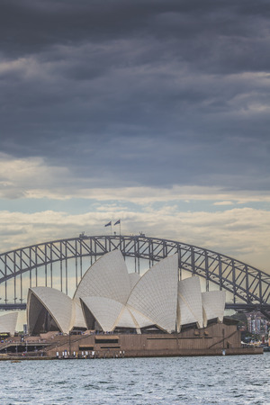 utzon: SYDNEY - OCTOBER 25: Sydney Opera House view on October 25, 2015 in Sydney, Australia. The Sydney Opera House is a famous arts center. It was designed by Danish architect Jorn Utzon, finally opening in 1973.