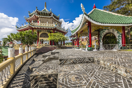 philippines: Pagoda and dragon sculpture of the Taoist Temple in Cebu, Philippines. Stock Photo