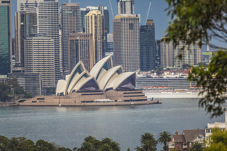 utzon: SYDNEY - OCTOBER 25: Sydney Opera House view on October 25, 2015 in Sydney, Australia. The Sydney Opera House is a famous arts center. It was designed by Danish architect Jorn Utzon. Editorial