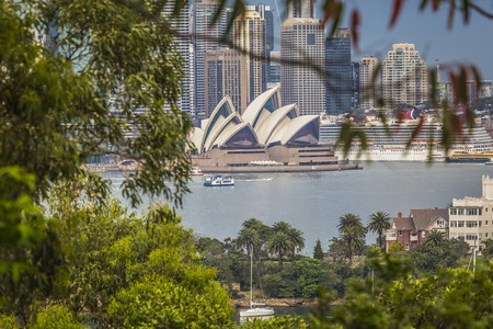 jorn: SYDNEY - OCTOBER 25: Sydney Opera House view on October 25, 2015 in Sydney, Australia. The Sydney Opera House is a famous arts center. It was designed by Danish architect Jorn Utzon. Editorial