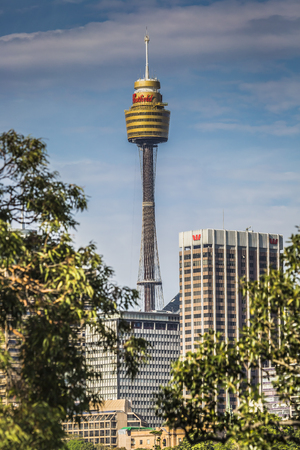 crone: SYDNEY - OCTOBER 27: Sydney Tower on October 27, 2015 in Sydney, Australia. Designed by Australian architect Donald Crone, plans for Sydney Tower were unveiled in March 1968, and construction began in 1975.
