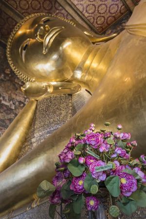 reclining: Reclining Buddha gold statue ,Wat Pho, Bangkok, Thailand