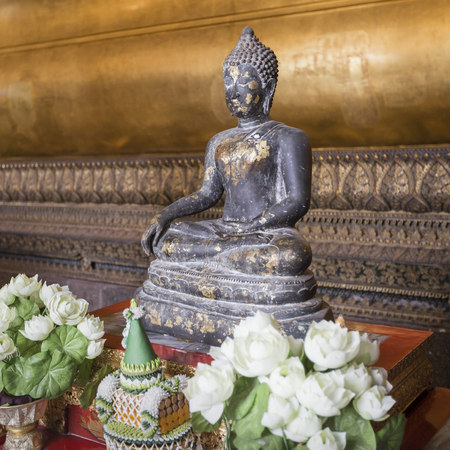 transcendental: Meditating Buddha in Wat Pho Temple, Bangkok.