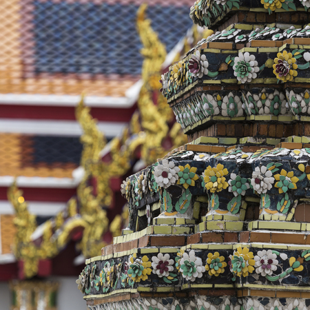 buddhist temple: Wat Pho known also as the Temple of the Reclining Buddha is a royal temple of the first grade, one of ten such temples in Bangkok and 23 in Thailand Stock Photo